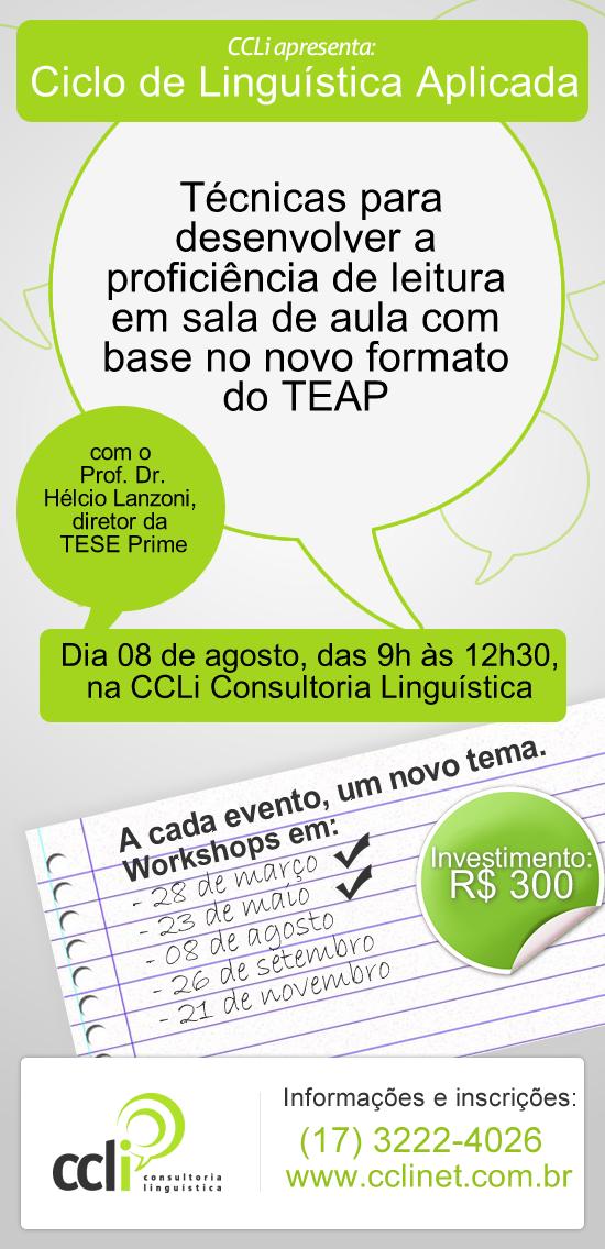 Ciclo de Linguística Aplicada da CCLi apresenta as mudanças no exame de proficiência TEAP